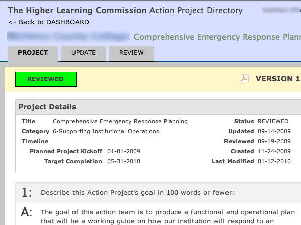 Action Project Directory for the Higher Learning Commission